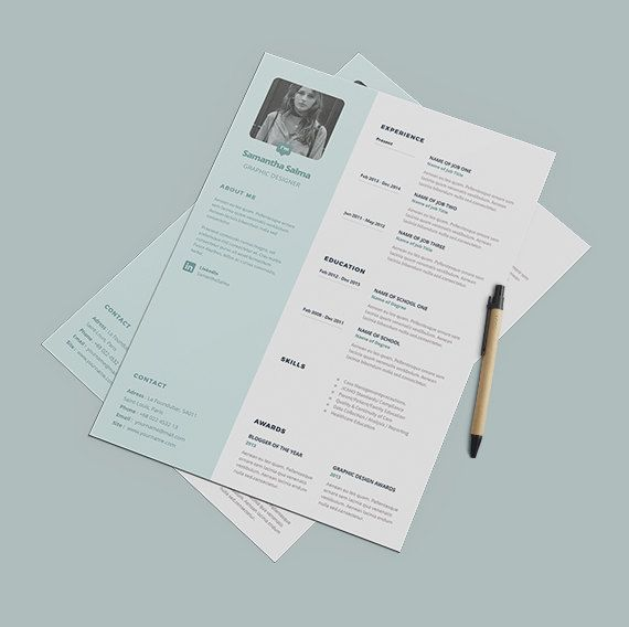 Pastel Resume Template Instant Download  Cover Letter by papernoon