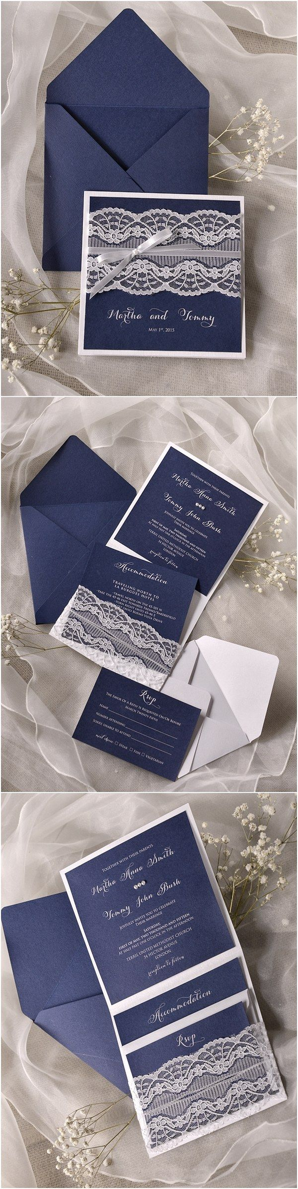 Navy blue Lace Wedding Invitations @4LOVEPolkaDots