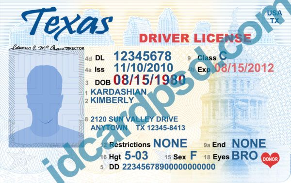 Texas driver license psd template - buy id card psd template
