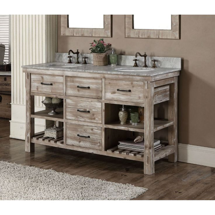 This rustic style bathroom vanity comes with marble top with backsplash and white ceramic sink that will be a head turner. You do not want to miss out on this opportunity to impress your friends and family.