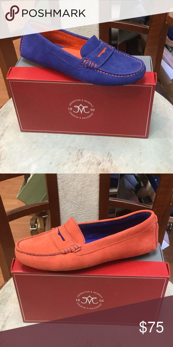 Johnson and Murphy ladies shoes: brand New! Slip on moccasin in orange or blue, super soft leather . Johnston & Murphy Shoes Moccasins