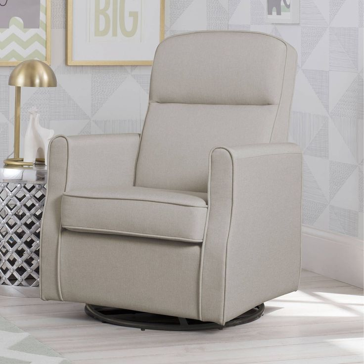 Delta Children Blair Slim Nursery Glider Swivel Rocker Chair, Taupe (Taupe), Ivory Cream (Wood)