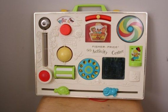 Oh my what a blast from the past, I hadn't thought of this for years! But I can remember playing with this. (Fisher Price Activity Centre).