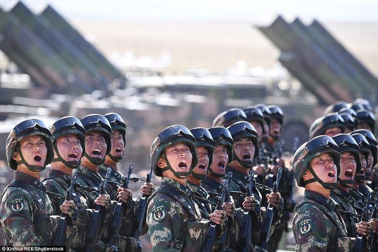 July 2017. A formation soldiers from the PLA's Rocket Force, which controls the nation's arsenal of nuclear and conventional ballistic missiles