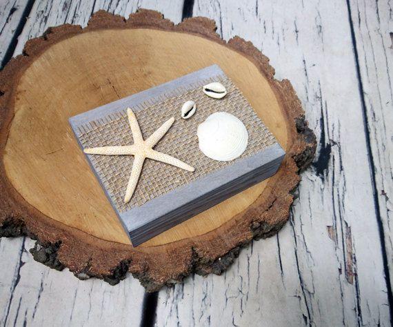 Wedding rings box starfish beach shells rustic looking shabby
