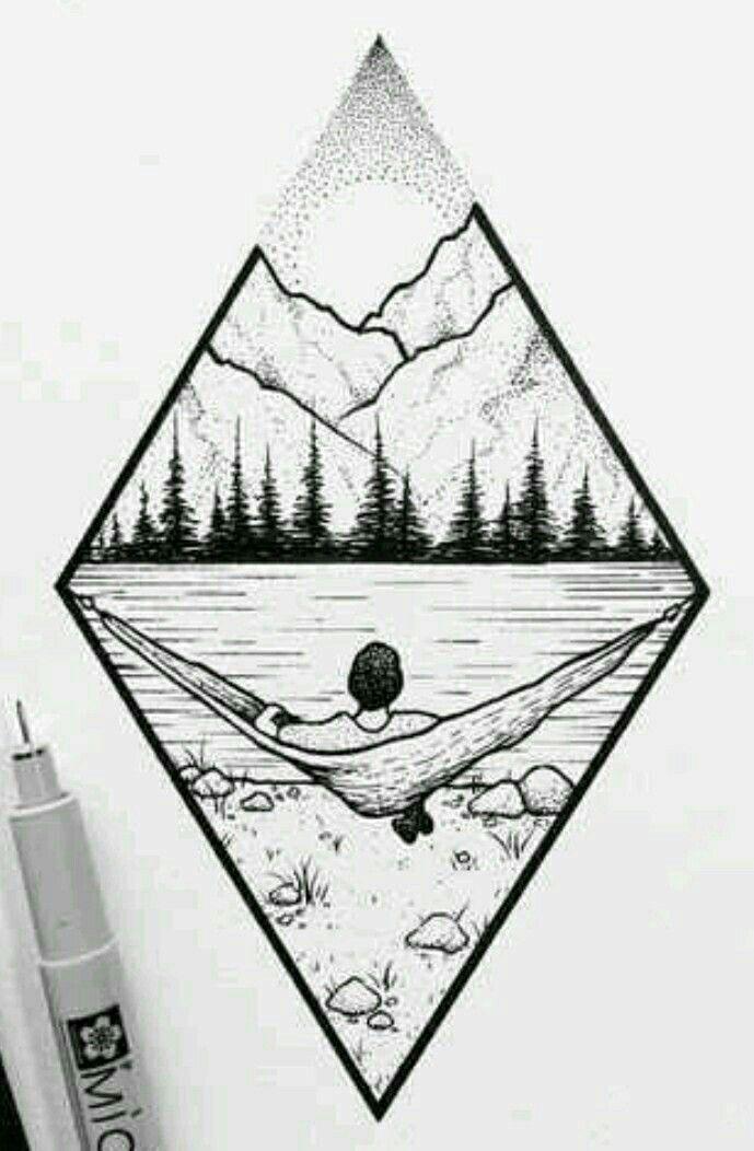 Berglandschaft # Kunst #Zeichnung #Abbildung #Wald #