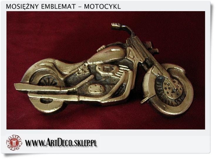 Mosiężny emblemat motocykl jak Harley Davidson - Handmade