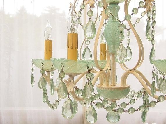 Pretty jade green chandelier