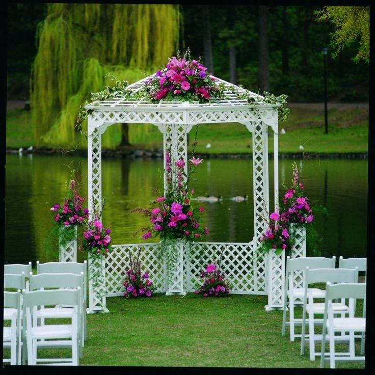 Fabulous Fuchsia Pink Flowers On This Lakeside Gazebo Beautifully Decorated For A Wedding Gazebo Wedding Diy Wedding Gazebo Gazebo