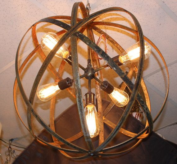 """24"""" Orb Chandelier Industrial Sphere Polished (Stainless"""