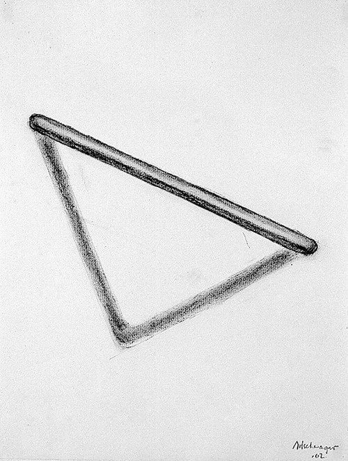 Richard Artschwager, Untitled (Triangle, Skewed), 2002  charcoal on paper  25 x 20 inches