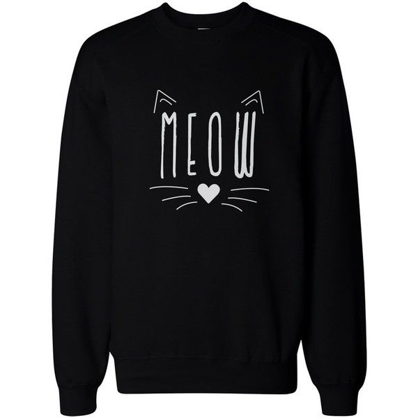 Meow Cute Kitty face Women's Sweatshirt Crewneck Pullover Fleece Cat... ($26) ❤ liked on Polyvore featuring tops, hoodies, sweatshirts, pullover sweatshirts, black fleece pullover, black pullover, black sweatshirt and black crew neck sweatshirt