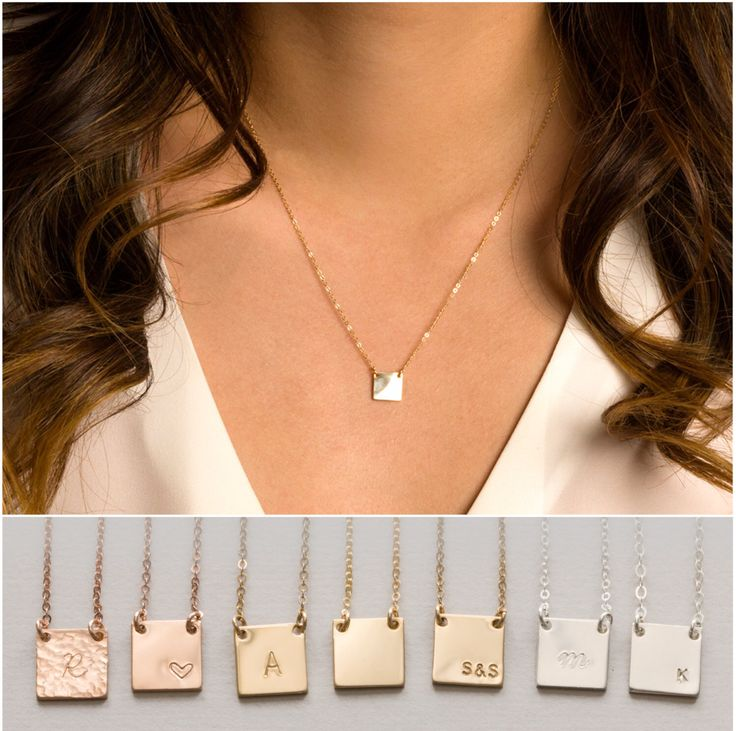 Personalized Necklace, Square Bar Necklace, Gold Personalized Necklace, Silver Personalized Necklace, Delicate Necklace, Dainty Necklace, Rose Gold Necklace