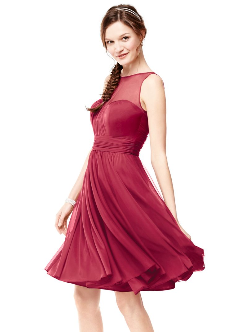 Look red haute in this short mesh bridesmaid dress with chic illusion neckline from David's Bridal.