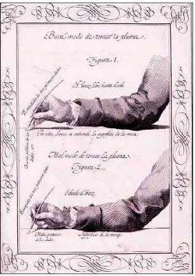 The Art of 18th Century HandwritingProper position for holding stylus. SANTIAGO Y PALOMARES, Francisco Javier de. Arte nueva de escribir, inventada por el insigne maestro Pedro Diaz Morante... Madrid: [En la Imprenta de D. Antonio de Sancha], 1776. Palau 299945. Berlin 5248. Bonacini 1353.