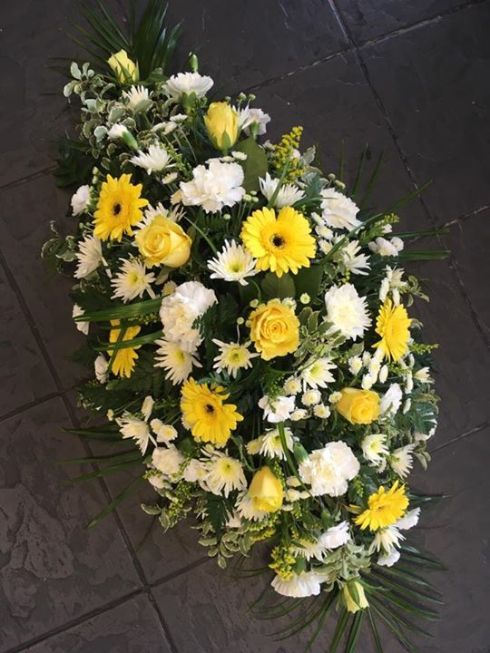 Yellow and Cream Funeral Spray