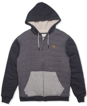 Rip Curl Men's Surf Check Colorblocked Hoodie with Faux-Fur Lining  - Gray 2XL