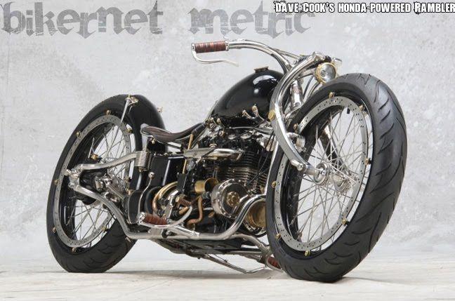 dave cook's rambler - honda cb550 transverse 4-cylinder custom bobber - bikerMetric