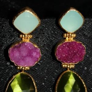 Aventurine, Pink Drusy, Green Moonstone Earring