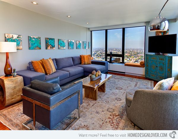 15 Stunning Living Room Designs With Brown Blue And Orange Accents 8