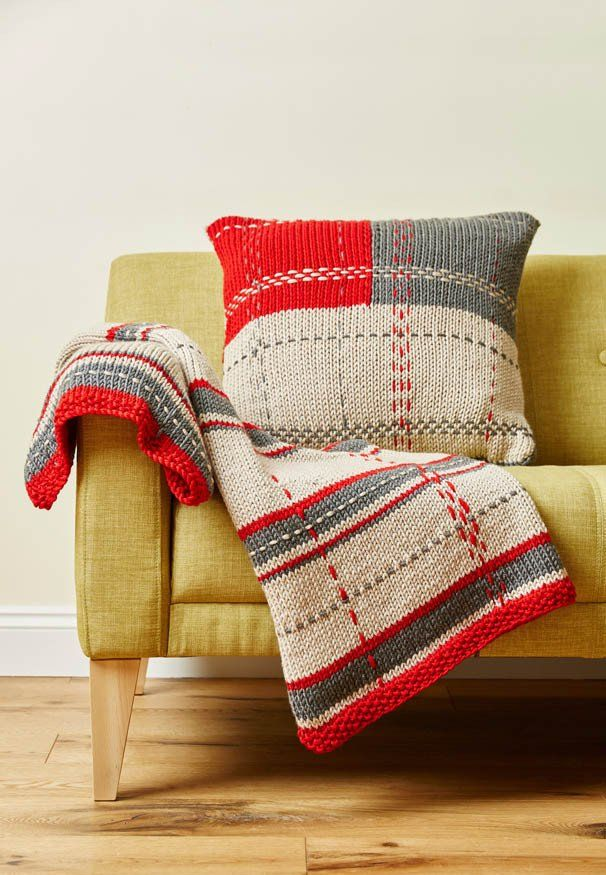 Knitting Pattern for Tartan Throw and Cushion. Quick knit in chunky yarn.