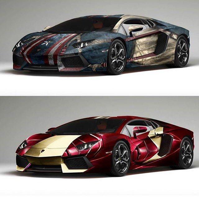 Captain America Lamborghini! Iron Man Lamborghini!