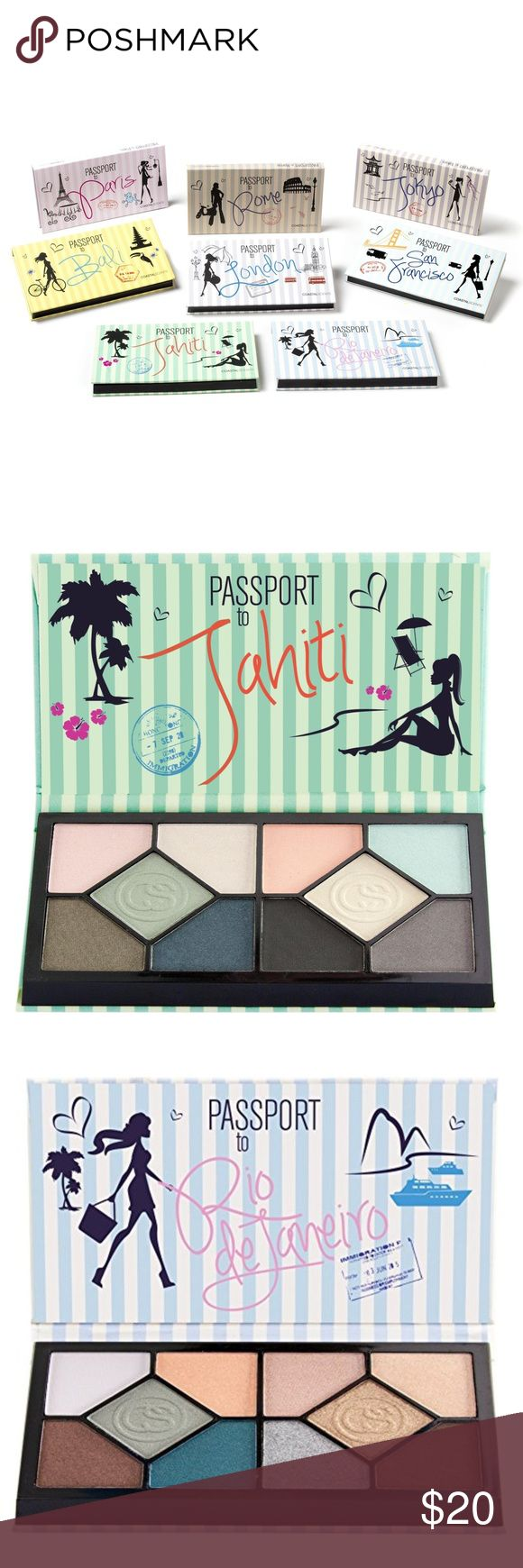 Coastal Scents Passport to Beauty Collection of 3 Includes Bali, Rio de Janeiro, and Tahiti. Can also be sold separately.   Each shadow is a collection of 10 individual shadow pans.  Includes matte and shimmer shadows Coastal Scents Makeup Eyeshadow