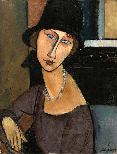 Modigliani, Amedeo (1884-1920) - 1917 Jeanne Hebuterne Wearing a Hat (Sotheby's New York, 2010)  for more Amedeo Modigliani oil paintings please visit http://www.painting-in-oil.com/artworks-Modigliani-Amedeo.html