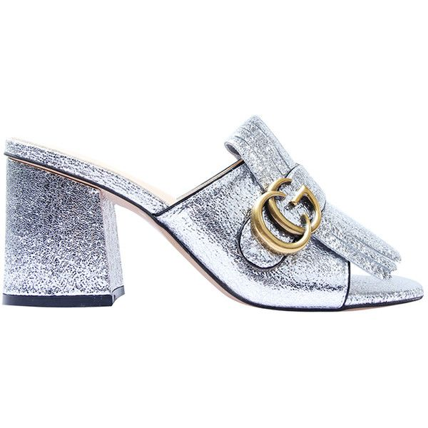 DALEA CG Logo Chunky Heel Mule Sandals (1.665.625 IDR) ❤ liked on Polyvore featuring shoes, sandals, logo shoes, open-toe mules, wide heel sandals, chunky heel shoes and metallic sandals