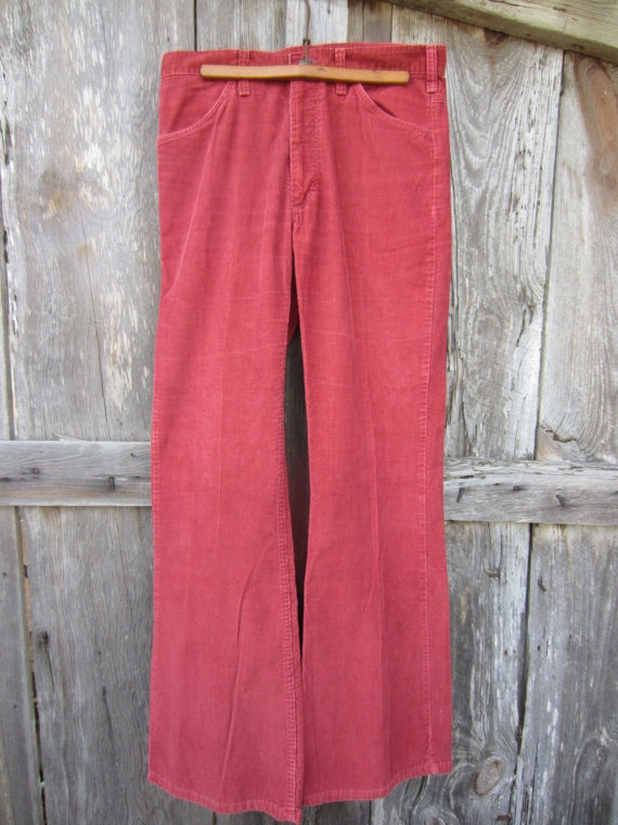 70s Burgundy Sedgefield Corduroy Bell Bottom Pants, Made in USA, W34 L34