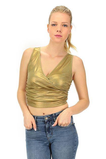 LIU.JO - Top - Abbigliamento - Top in tessuto elasticizzato, scollato a V.La nostra modella indossa la taglia /EU XS. - ORO - € 59.00