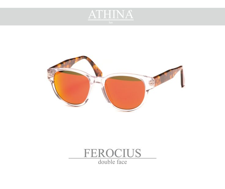 Mod. FER0102M01 Sunglasses with a rounded shape, made with a cristal transparent frontal and classic havana temples, totally in cellulose acetate. Provided with mirror red lenses.