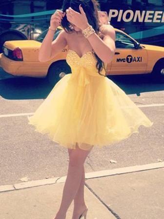 Sweetheart Neck Short Yellow Prom Dress, Homecoming Dress, Graduation Dress