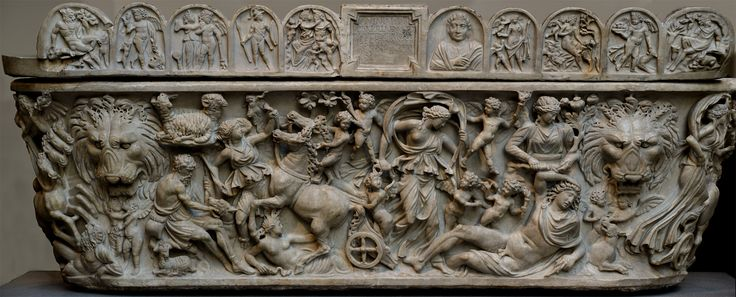 analysis of sarcophagus with the triumph of dionysus and four seasons Sarcophagus with a myth of dionysus and sarcophagus of roman work containing the thiasus thiasos tiaso dionysus bacchus maenades satyr.