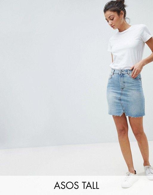 3471fc9335 DESIGN Tall denim pelmet skirt in lightwash blue   2018 Clothing ...