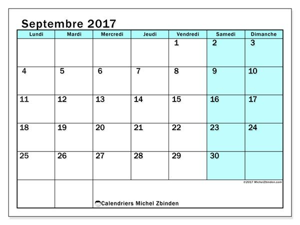 Calendrier septembre 2017 (59LD)
