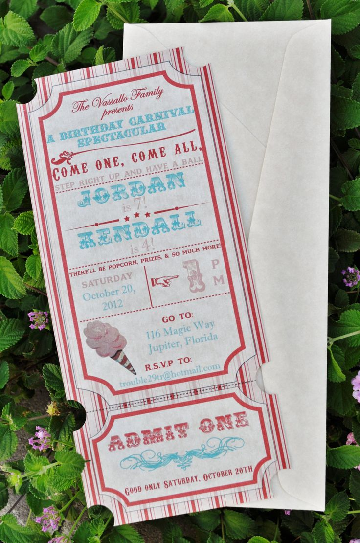 DIY Vintage Carnival Invitations Printable by Lexdesignsco on Etsy