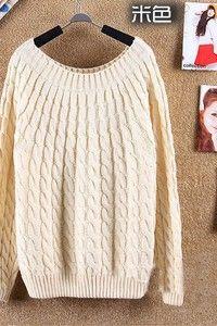 широкие вязанные кофты | Кремовый свитер с узором из вязаных ...
