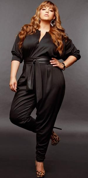 Monif C brings the belted jumpsuit trend to plus size fashion and it looks great! #UNIQUE_WOMENS_FASHION Womens Plus Size Fashion Unique Style Inspiration Urban Apparel #UNIQUE_WOMENS_FASHION