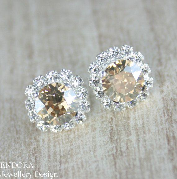 Champagne earring,Champagne crystal earring,Champagne bridal jewelry,Champagne wedding,Crystal earring,Golden Shadow Swarovski crystal stud