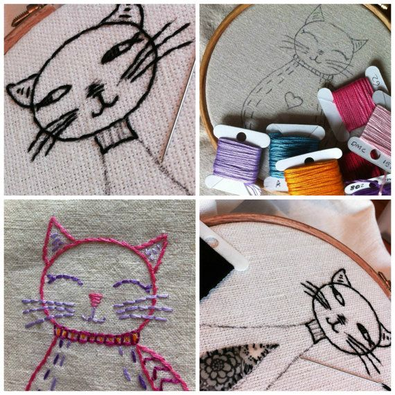 these cute cat embroideries are very simple pattern consisting mainly of backstitch (although you could use all kinds of other stitches if you like).