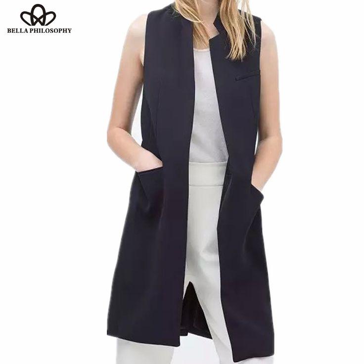 新しいスタイリッシュな春/夏女性スタンド襟長いスーツベスト黒、白ダークブルー2ポケット