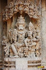 Relief sculpture of the Hindu god Narsimha on the outer walls of Keshava Temple, Somanathapura, Mysore district, One of the finest of Hoysala style architectures, near #Mysore, #Karnataka, #India   #Somanathapura #Somnathpur #Somanathpur #Somanathapur #Architecture #incredibleindia #Travels #Temples #templesofindia #Trayaan #Historical #Monuments #MonumentsOfIndia #Hoysala #HoysalaTemples #HoysalaArchitecture