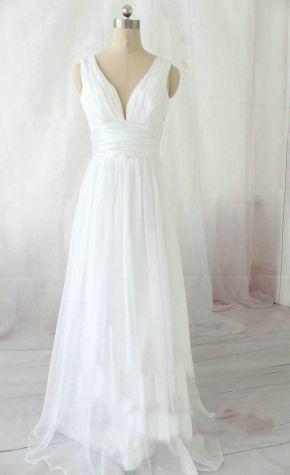 cheap white strapless long chiffon beach wedding dress | Cheap beach wedding ...