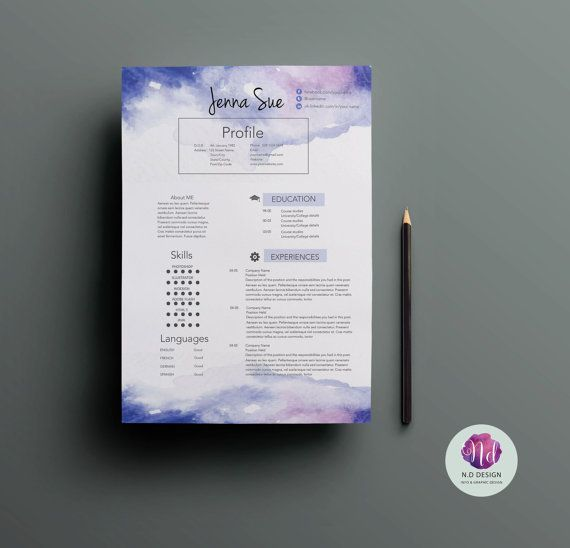 Creative CV Template / Resumte Template , Cover Letter Template U0026 Reference  Letter Template ( Violet Watorcolor Background )