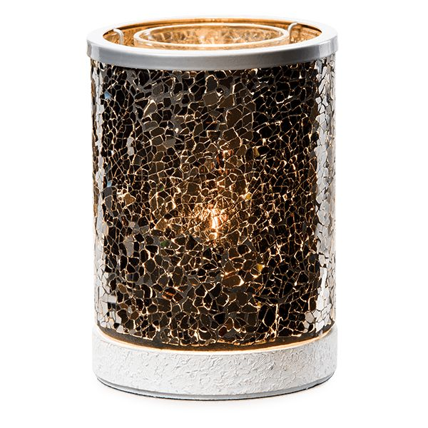 Black Crush is beautiful on or off, but when lit, this mosaic of onyx glass comes alive with dramatic, speckled light.