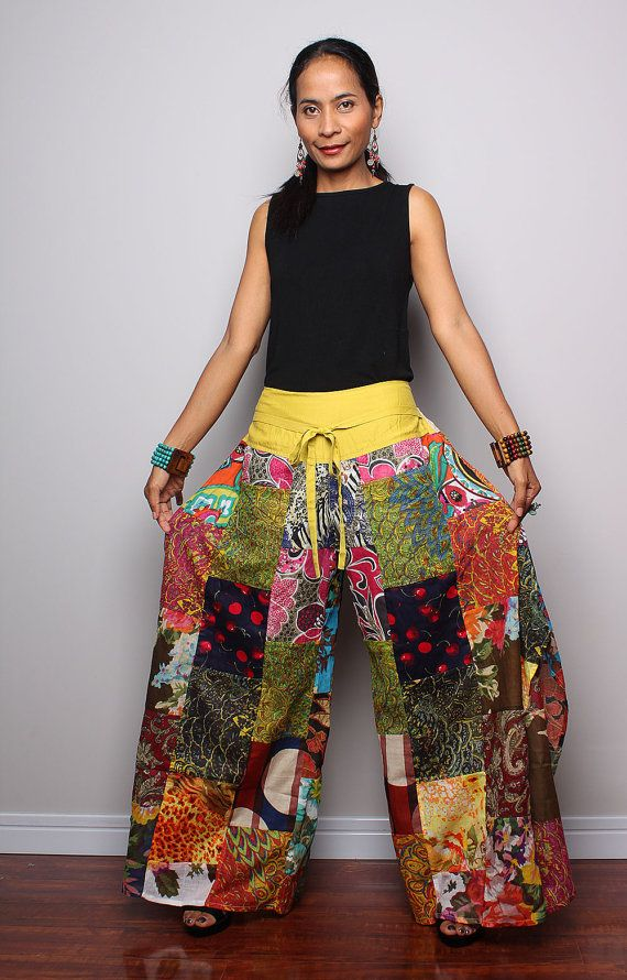 Patchwork pants   Long Womes Wide leg pants  Boho by Nuichan, $58.00  @Amanda Snelson Vais
