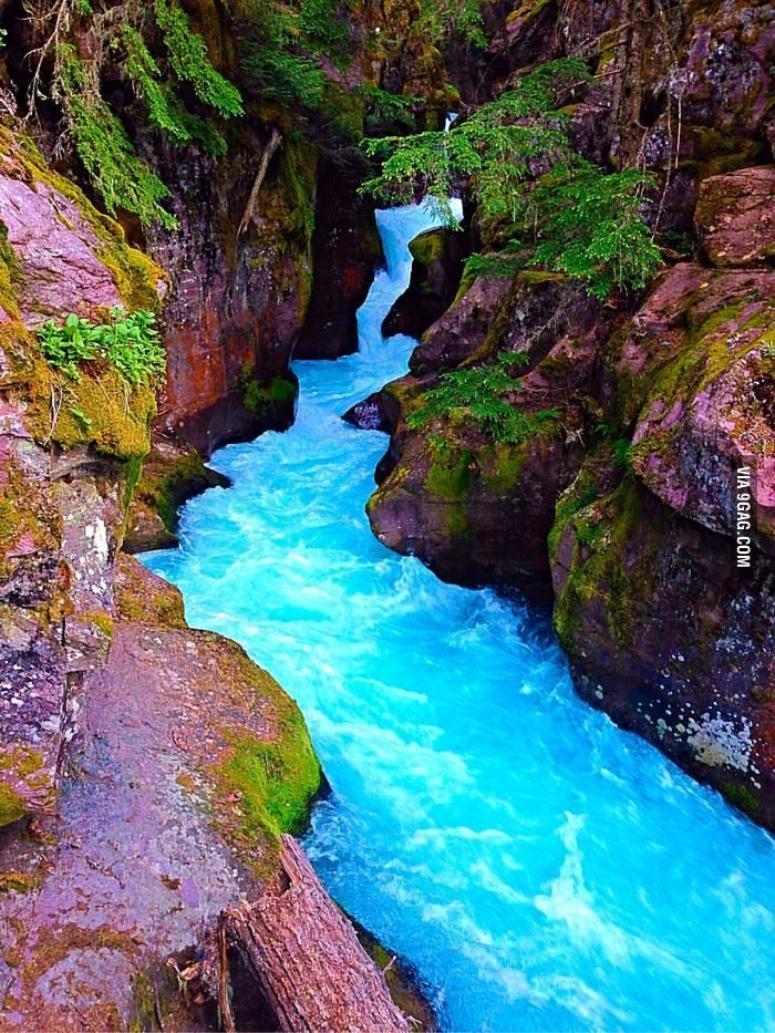 The blue water of Glacier National Park Montana! -…
