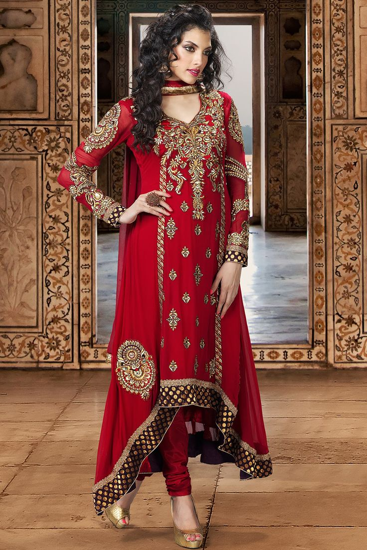 Red Embroidered Faux Georgette Long #Anarkali Salwar Suit More. Faux Georgette By Shades and you!  #AnarkaliSuitsOnline #PartyWearSalwarKameez #PakistaniSuits #SalwarKameez #DesignerSalwarKameez #AnarkaliSalwarKameez