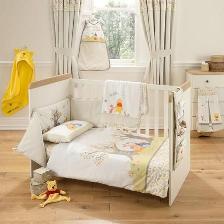 Disney Embroidered Light Brown Winnie the Pooh Nursery Cot Bed Duvet Cover Set